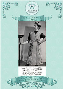 Vintage sewing pattern-make a 1940s wartime utility apron-full size paper pieces