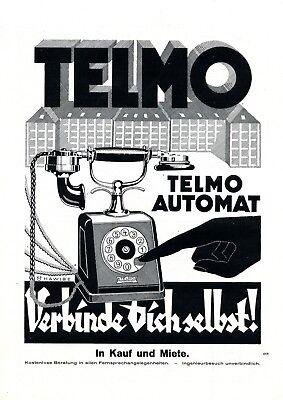 Telefon Telmo Automat XL Reklame 1925 Verbinde Dich selbst Werbung Hawibe