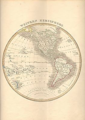 1848 Ca ANTIQUE  MAP-H/COL- WESTERN HEMISPHERE
