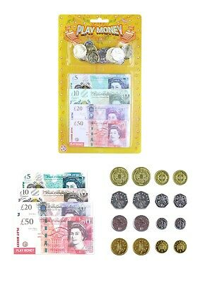 Kids Play Fake Pretend Money Toy Cash £5 £10 £20 £50 Note COINS (T09378)