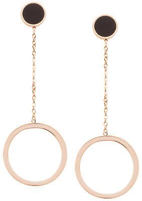 Lange Ohrringe Offen Kreis Hängeohrringe Lange Ohrringe in Rosegold und Schwarz (Offene Kreis Ohrringe)