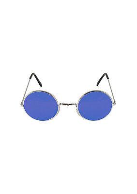 STEAMPUNK 50'S ROCK BAND GLASSES RETRO ROUND BLUE LENS FANCY DRESS LENNON PARTY