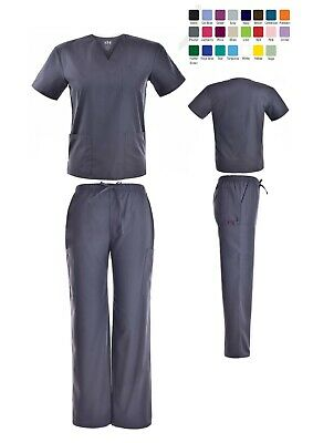 Unisex Scrub Sets Solid V-Neck Top Cargo Pant Men Women Medical Nursing Uniform