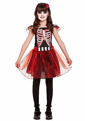 Tag Der Toten Halloween-kostüme (Mädchen Skelett Tag der Toten Kinderkostüme Halloween Kostüm Unheimlich)