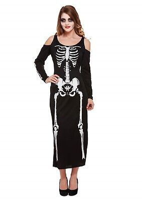 s Up Female Skeleton Long Dress Outfit Costume One Size (Dress Up Skeleton Halloween)