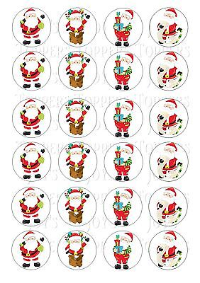 24 FATHER CHRISTMAS CUPCAKE TOPPER WAFER RICE EDIBLE FAIRY CAKE BUN TOPPERS ()