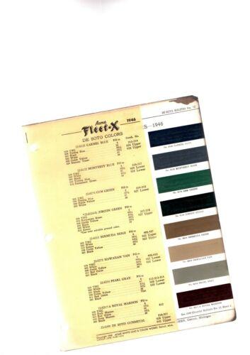 1946 DeSOTO Color Chip Paint Sample Brochure / Chart: De Soto