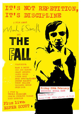 "Reproduction The Fall ""Film"" Poster, Mark E Smith, Manchester, Indie"