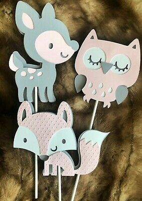 pink and gray Fox / Woodland baby shower/ Woodland theme/ Deer/ Fox/ Owl - Pink And Grey Baby Shower Decorations