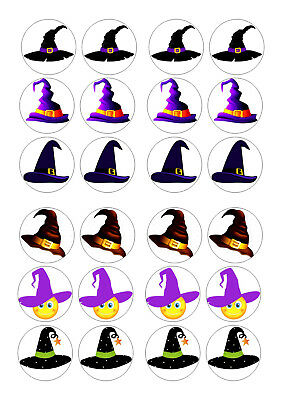 Halloween Cupcakes Witches Hats (24 WITCHES HATS HALLOWEEN  CUPCAKE TOPPER ICED  ICING EDIBLE FAIRY CAKE)