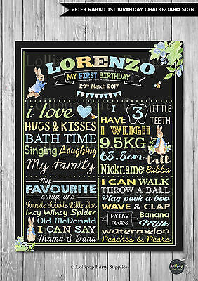 BOY 1ST FIRST BIRTHDAY CHALKBOARD SIGN PETER RABBIT BIRTHDAY PARTY PERSONALISED - 1st Birthday Chalkboard Sign