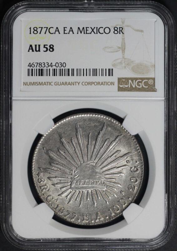 1877CA EA Mexico Silver 8 Reales NGC AU-58 -173645