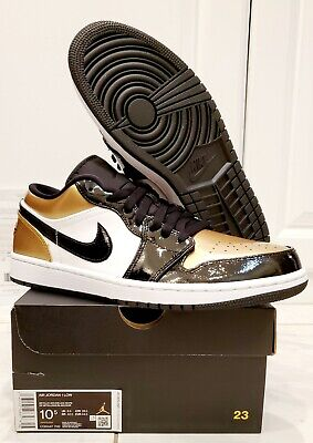 2019 AIR JORDAN 1 Low GOLD TOE 10.5 CQ9447-700 Metallic 100% AUTHENTIC-SOLD OUT