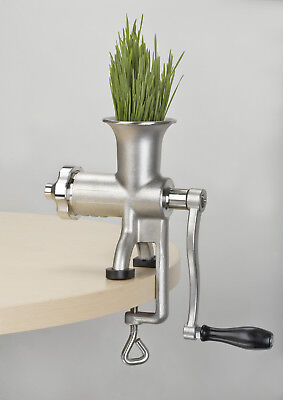LIGHTLY USED Miracle Exclusives MJ445 Manual Stainless Steel Wheatgrass Juicer