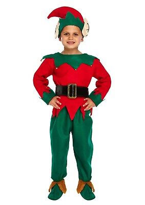 Childs Elf Christmas Xmas Fancy Dress Up Outfit Nativity Pantomime Costume (Elf Dress Up)