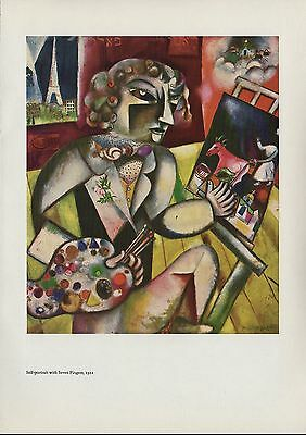 """1963 Vintage """"SELF-PORTRAIT with SEVEN FINGERS"""" by MARC CHAGALL COLOR Lithograph"""