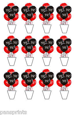 AKE TOPPERS DECORATION WWE WRESTLING BALLOONS STANDUPS PARTY (Wwe Cupcake Toppers)