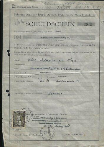 RRR Judaica Document of Jewish woman under the Nazi regime visa to Palestine