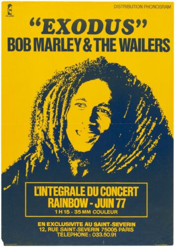 """RARE Original Bob Marley """"Exodus"""" 1977 Concert Poster, Only One in Private Hands"""