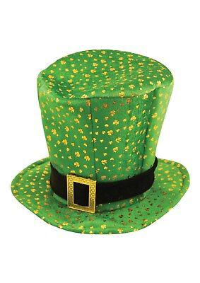 mrock Velvet Topper Hat With Gold Buckle St Patrick's Day. (St Patrick Leprechaun)