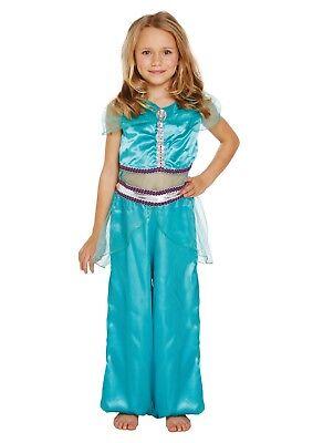 Girls Arabian Princess Kids Fancy Dress Jasmine Childs Fairytale Book Costume - Childs Jasmin Kostüm