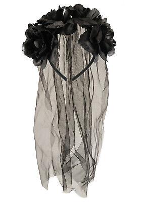 Black Veil With Flowers Ladies Fancy Dress Halloween Wedding Dead Bride - Flower Fancy Dress Kostüm