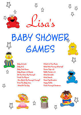 1 Personalised Baby Shower Party Games for 10 guests   Favour Tags   Sesame - Baby Shower Party Favors For Guests