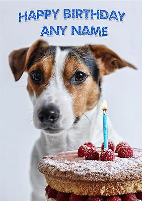 Personalised Jack Russell Terrier Card.  Blank Inside.  Name/age on front