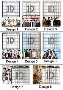 One Direction Personalised Reward Chart. Kids behaviour, Chore, Toilet Training