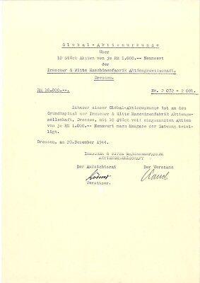 Rarität Aktie Irmscher und Witte Maschinenfabrik AG 10000 RM 1944 Dresden