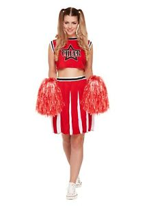 e2b06cfb3f Cheerleader Fancy Dress Sport Costume High School Red TOP & SKIRT With Pom  Poms