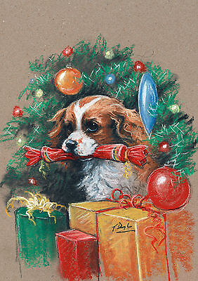 Cavalier King Charles Dog, Christmas cards pack of 10 by Paul Doyle. C469X