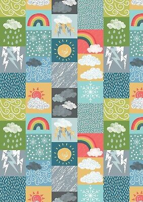100% Cotton Fabric, Fat Quarter, Lewis & Irene, Whatever the Weather, Rainbow