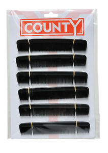 County 6 Gents Mens Pocket Hair Combs Black Plastic 12 On A Card