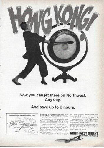 1966 Northwest Orient Hong Kong Gong Korea Okinawa Taiwan Jet Original Print Ad