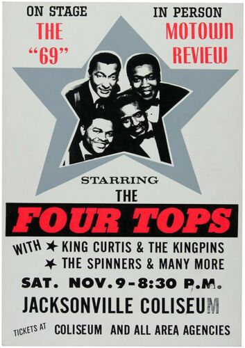"""Reproduction Motown Poster, """"The Four Tops"""", Home Wall Art, Size A2"""