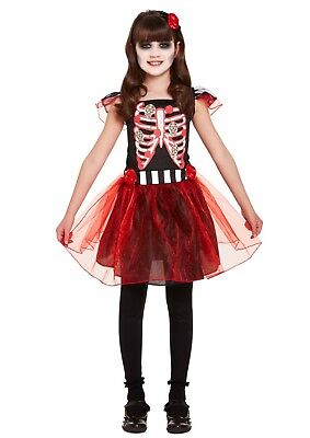 Halloween Skeleton Childs Fancy Dress Up Costume Outfit Party Girl  Dressing Up