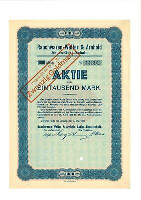 Rauchwaren-Walter & Arnhold AG 1000 Mk 1923 Markranstädt bei Leipzig