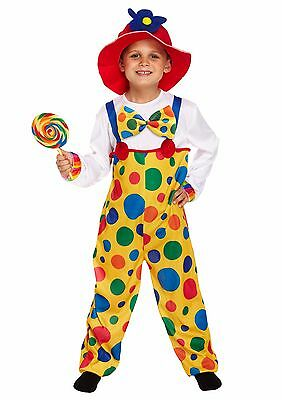 Child Clown Body Suit Fancy Dress Up Outfit Boys Girls Book Week Circus Costume