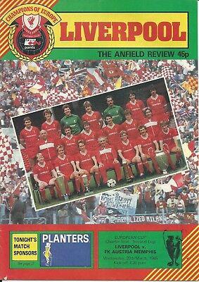 LIVERPOOL V FK AUSTRIA MEMPHIS 1984/85 EUROPEAN CUP MATCHDAY PROGRAMME