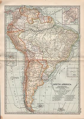 1903 BRITANNICA ANTIQUE MAP SOUTH AMERICA