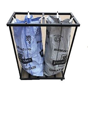 Mail Room Twin Sack Trolley Powder Coated Black Double Postage Post Bag Holder