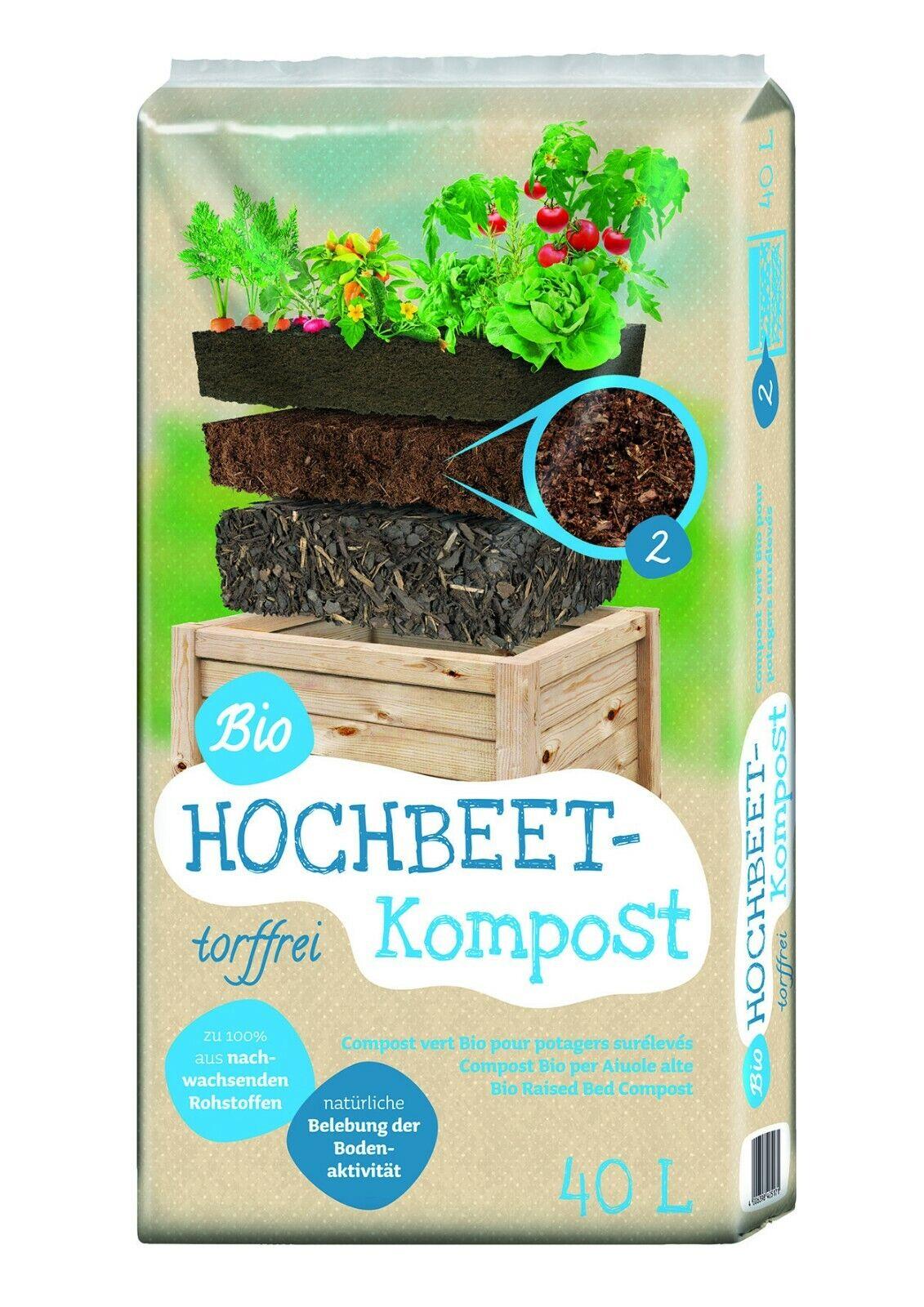 Floragard Bio Hochbeet Kompost 40L Erde erhöht die biologische Bodenaktivität