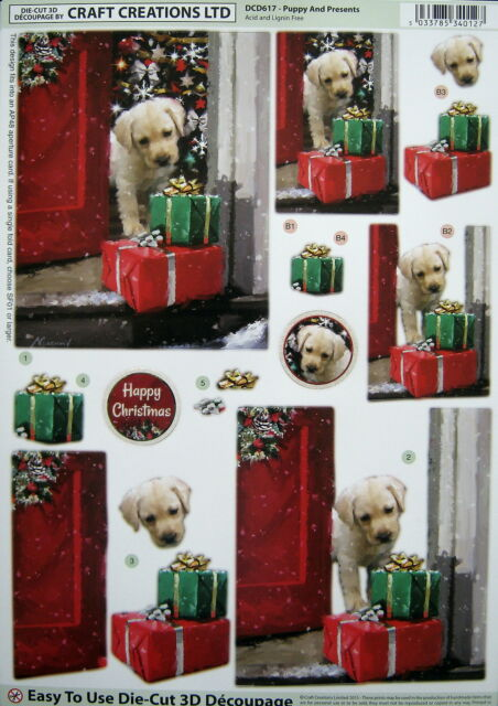 3D Christmas DIE CUT decoupage - PUPPY AND PRESENTS - DCD617