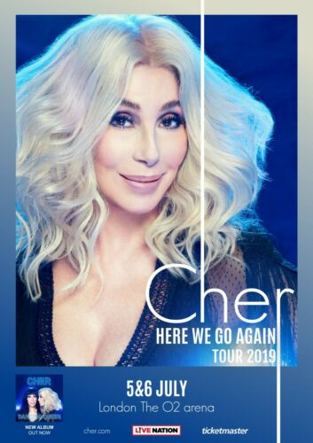 "CHER ""HERE WE GO AGAIN TOUR 2019"" LONDON U.K. CONCERT TOUR POSTER-Pop Disco Diva"