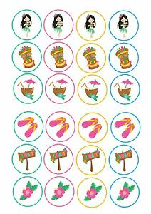 24 Edible cake toppers decorations Hawaiian Luau party mix tropical party