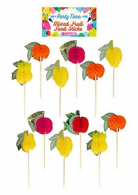 24 COCKTAIL FRUIT STICKS Honeycomb Hawaiian Luau Party Food Picks Mixed Fruit UK](Hawaiian Luau Food)
