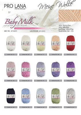 25 g Pro Lana Baby Milk Wolle (100g/11,80€)Keimfrei Stricken Garn Babywolle 1409