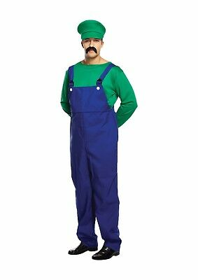 Luigi Fancy Dress Up Outfit Super Mario Brothers Costume Adult Mens Male NEW (Mens Dress Up Outfits)