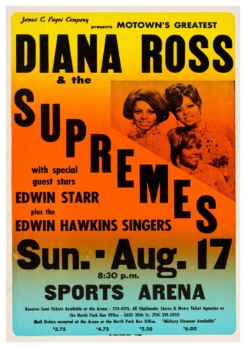 """Reproduction Motown """"Diana Ross & The Supremes"""" Poster"""